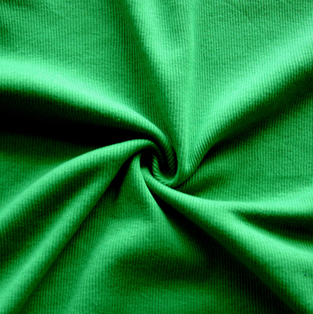 Grass Green 2x1 Cotton Rib Knit Fabric