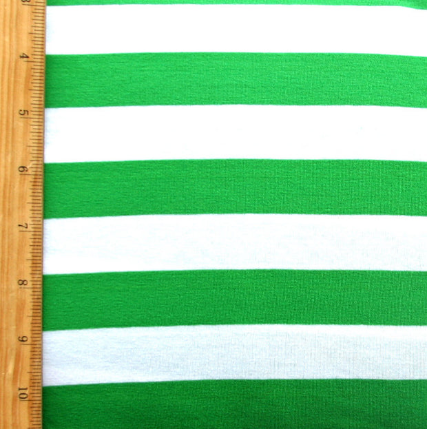 "Green and White 1"" wide Stripe Knit Fabric - 13"" Remnant Piece"