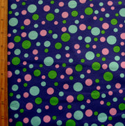Green, Aqua, and Lavender Bubble Dots on Purple Cotton Lycra Knit Fabric