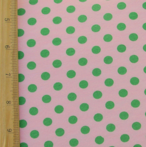 Green Polka Dots on Pink Cotton Modal Knit Fabric