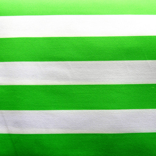 Green and White Wide Stripe Nylon Lycra Swimsuit Fabric