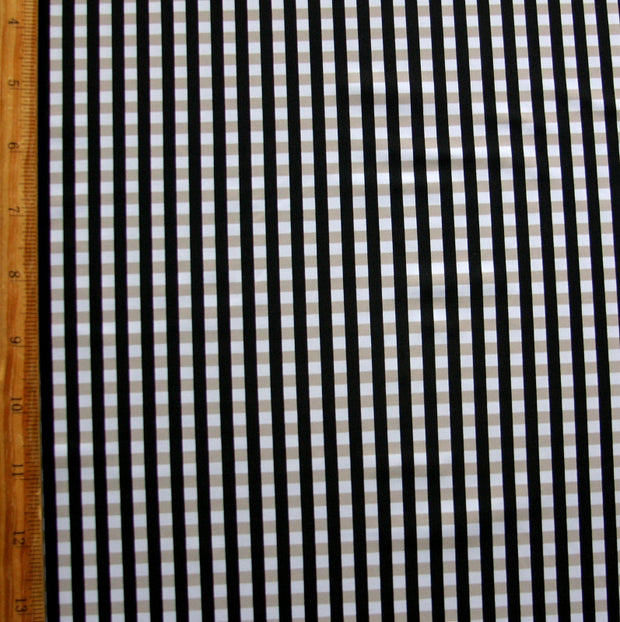 Grey/Black Check Nylon Lycra Swimsuit Fabric