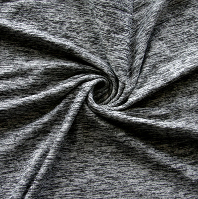 Grey/Black Marl Poly Lycra Knit Fabric