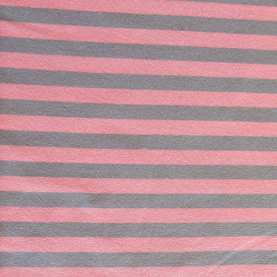 "Grey and Pink 3/8"" wide Stripe Cotton Lycra Knit Fabric"