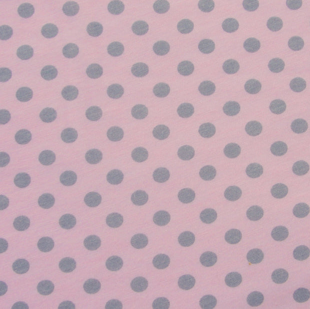 Grey Polka Dots on Pink Cotton Modal Knit Fabric