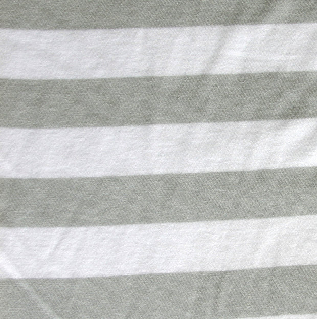"Grey and White 7/8"" Stripe Cotton Knit Fabric - SECONDS - Not Quite Perfect"