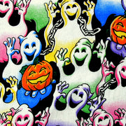 "Grinning Ghosts Cotton Knit Fabric - 35"" Remnant Piece"