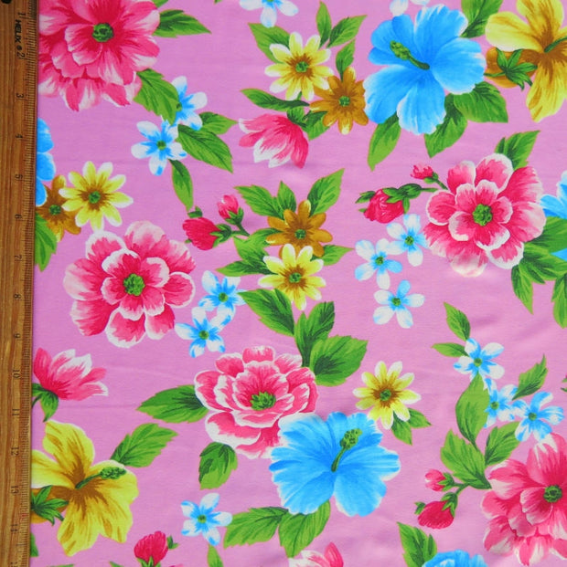 Hawaiian Floral on Pink Nylon Spandex Swimsuit Fabric