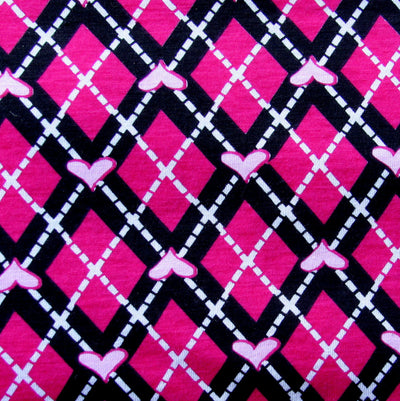 Fuschia Hearts Argyle Knit Fabric
