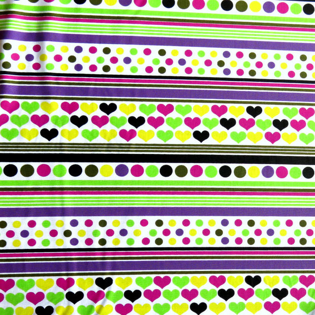 Hearts, Dots, and Stripes Nylon Spandex Swimsuit Fabric