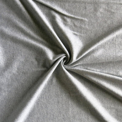 Classic Heathered Grey Cotton Interlock Fabric