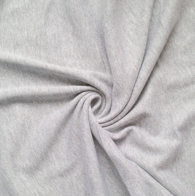 Heathered Grey Cotton Rib Knit Fabric