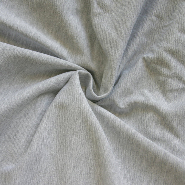 Heathered Grey Poly Cotton Jersey Knit Fabric