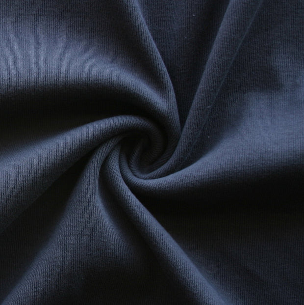 Navy Cotton Heavy Rib Knit Fabric