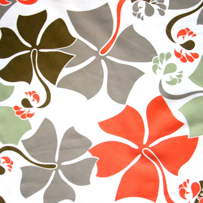 Hibiscus Floral on Creme Microfiber Boardshort Fabric
