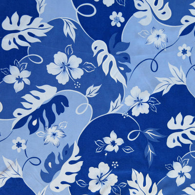 Shades of Blue Hibiscus Floral Microfiber Boardshort Fabric