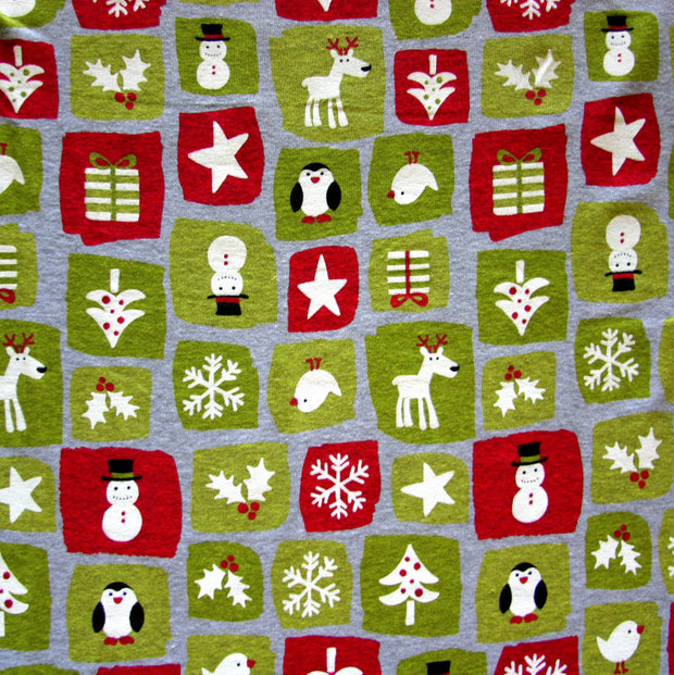 Holiday Patches Cotton Knit Fabric