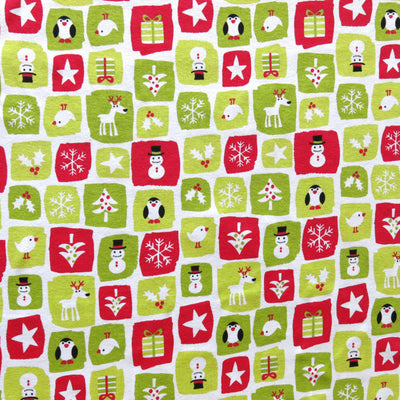 Holiday Patches on White Cotton Rib Knit Fabric