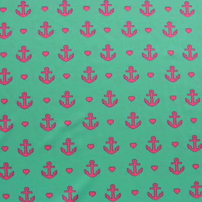 Hot Pink Anchors and Hearts on Bright Mint Nylon Lycra Swimsuit Fabric