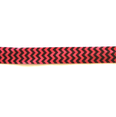 "Black and Hot Pink Chevron 5/8"" Flat Elastic Trim"