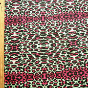 "Hot Pink and Black Leopard Print with Hot Pink Stripes Cotton French Terry Fabric - 24"" Remnant"