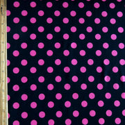 Hot Pink Polka Dots on Black Nylon Spandex Swimsuit Fabric