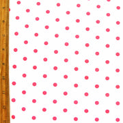 Hot Pink Aspirin Polka Dots on White Cotton Knit Fabric