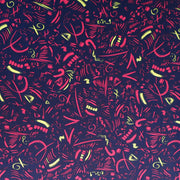 Hot Pink and Yellow Symbols on Navy Nylon Spandex Swimsuit Fabric