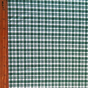 Hunter Green Gingham on White Cotton Spandex Knit Fabric