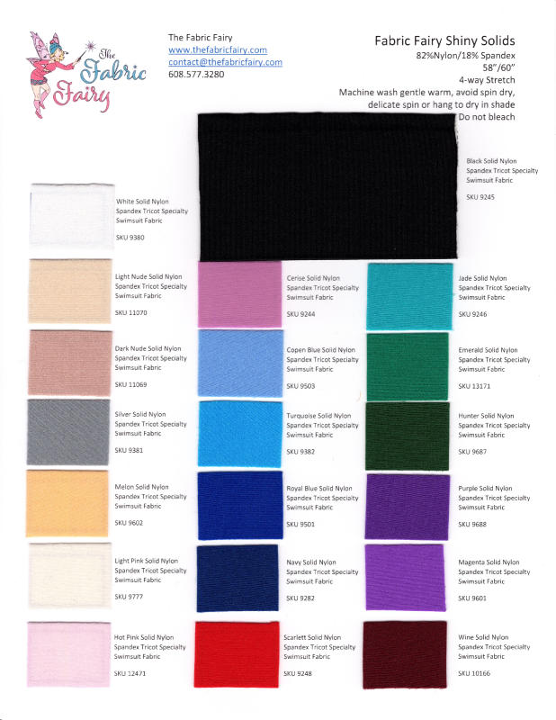 Fabric Fairy Shiny Solids Swatch Card