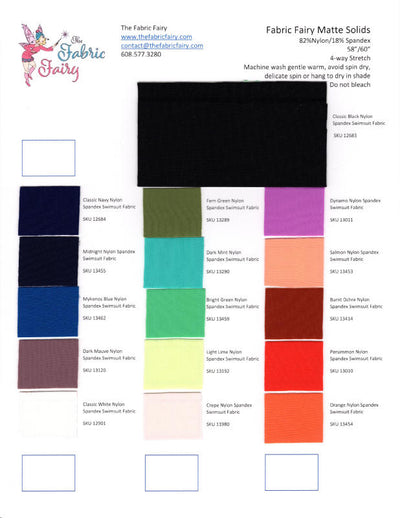 Fabric Fairy Matte Solids Swatch Card