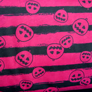 Black Jack O' Lanterns on Fuschia Cotton Knit Fabric - SECONDS- Not Quite Perfect
