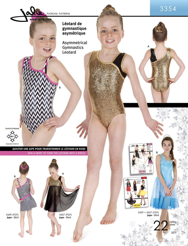 Asymetrical Gymnastics Leotard Sewing Pattern by Jalie