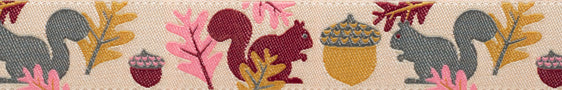 Squirrels on Creme Woven Ribbon by Jessica Jones