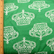 Juicy Crowns on Green Jacquard Knit Fabric