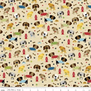 Rover Dog Park Tan Cotton Lycra Knit Fabric by Riley Blake