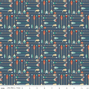Blue Adventure Arrow Cotton Lycra Knit Fabric by Riley Blake