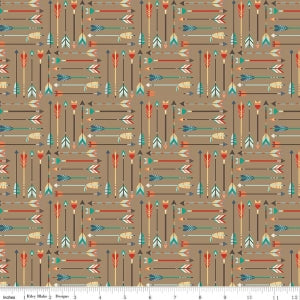 Tan Adventure Arrow Cotton Lycra Knit Fabric by Riley Blake