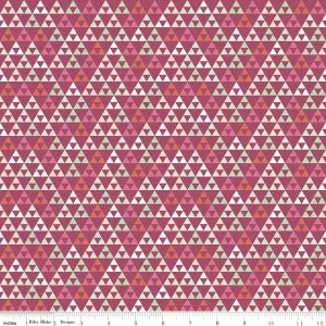 "Trend Triangle Raspberry Cotton Lycra Knit Fabric by Riley Blake - 26"" Remnant"