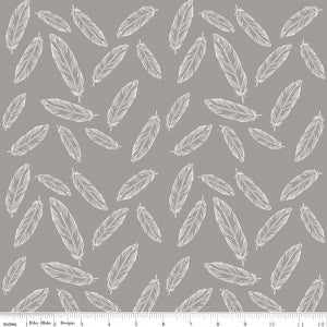 Feathers Grey Cotton Lycra Knit Fabric by Riley Blake