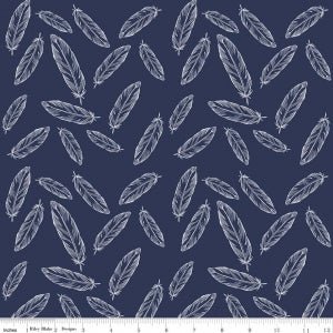 Feathers Navy Cotton Lycra Knit Fabric by Riley Blake