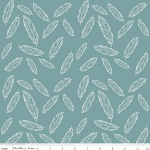 Feathers Teal Cotton Lycra Knit Fabric by Riley Blake