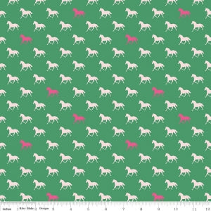 Green Derby Horses Cotton Lycra Knit Fabric by Riley Blake