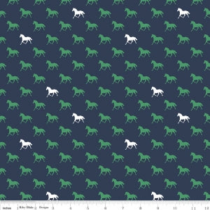 Navy Derby Horses Cotton Lycra Knit Fabric by Riley Blake