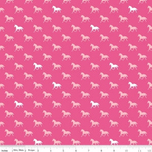 Pink Derby Horses Cotton Lycra Knit Fabric by Riley Blake