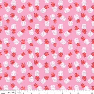 Pink Havana Pineapple Cotton Lycra Knit Fabric by Riley Blake