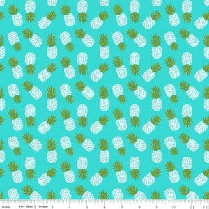 Teal Havana Pineapple Cotton Lycra Knit Fabric by Riley Blake