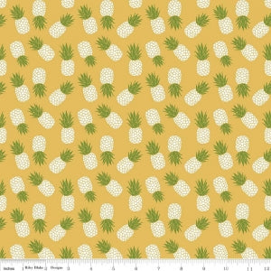 Yellow Havana Pineapple Cotton Lycra Knit Fabric by Riley Blake