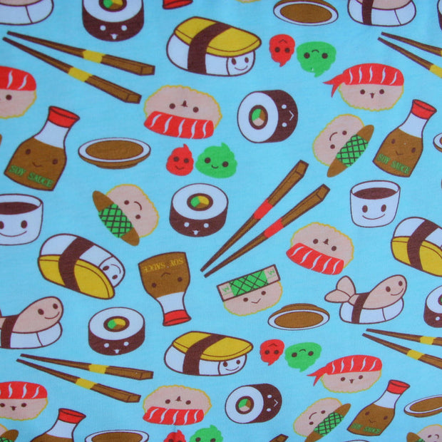 Kawaii Sushi Cotton Lycra Knit Fabric