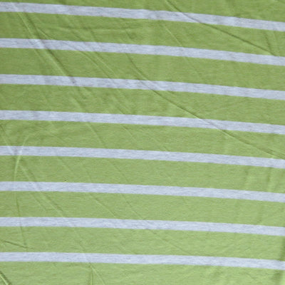 Kiwi Green and Heathered Grey Stripe Bamboo Lycra Knit Fabric